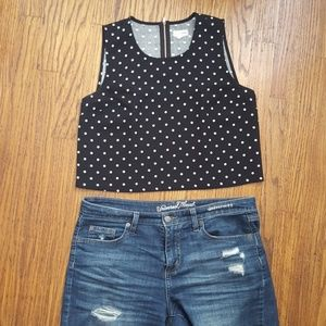 Maison Jules exposed zip black polka dot crop top